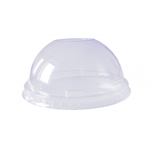 DOME-lids for clear-cups with hole, crystal clear, 50 pieces per stack