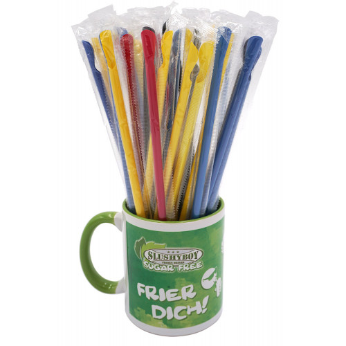 Spoon straws, assorted colours, 100 pieces per bag
